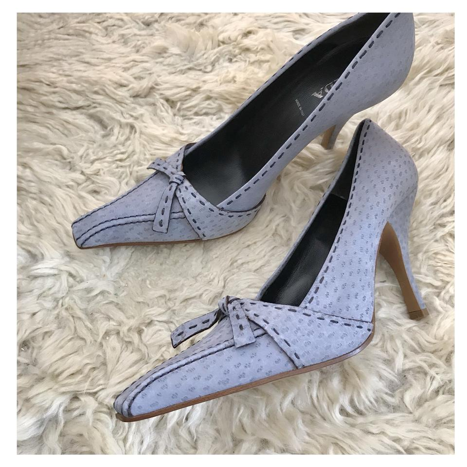 01df0fc51fa Prada Light Blue Nubuck with Stitch and Bow Detail New Pumps. Size  EU ...