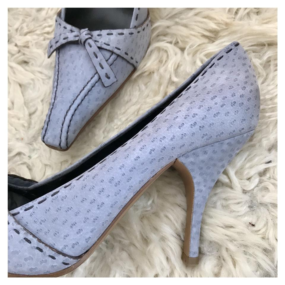 4f773c1846c Prada Light Blue Nubuck with Stitch and Bow Detail New Pumps Size EU ...