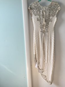 White and Silver Chiffon 1920s Gatsby Style Beaded Gown Retro Wedding Dress Size 6 (S)