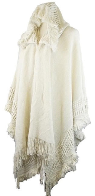 Preload https://img-static.tradesy.com/item/23579763/off-white-ivory-cream-boho-chic-fringed-trimmed-hooded-textured-wrap-shawl-ponchocape-size-os-one-si-0-0-650-650.jpg
