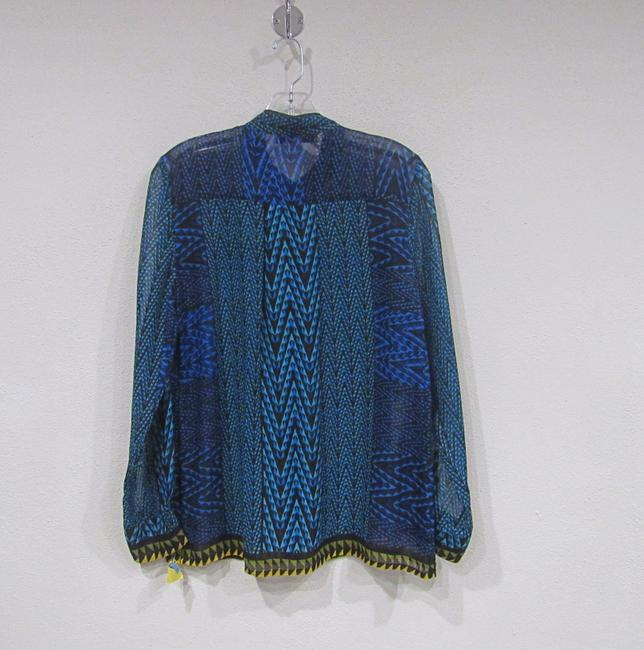 C'est City by August Silk Top Blue, Black, Yellow, Green