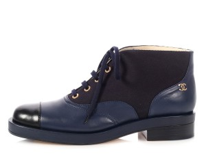 Chanel Ch.p0521.02 Lace Up Ankle Navy and black Boots