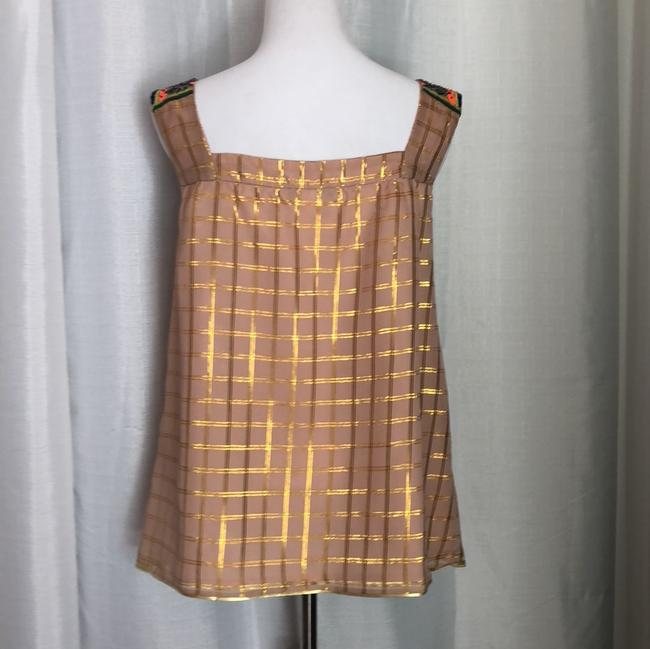 Anthropologie Top nude with gold