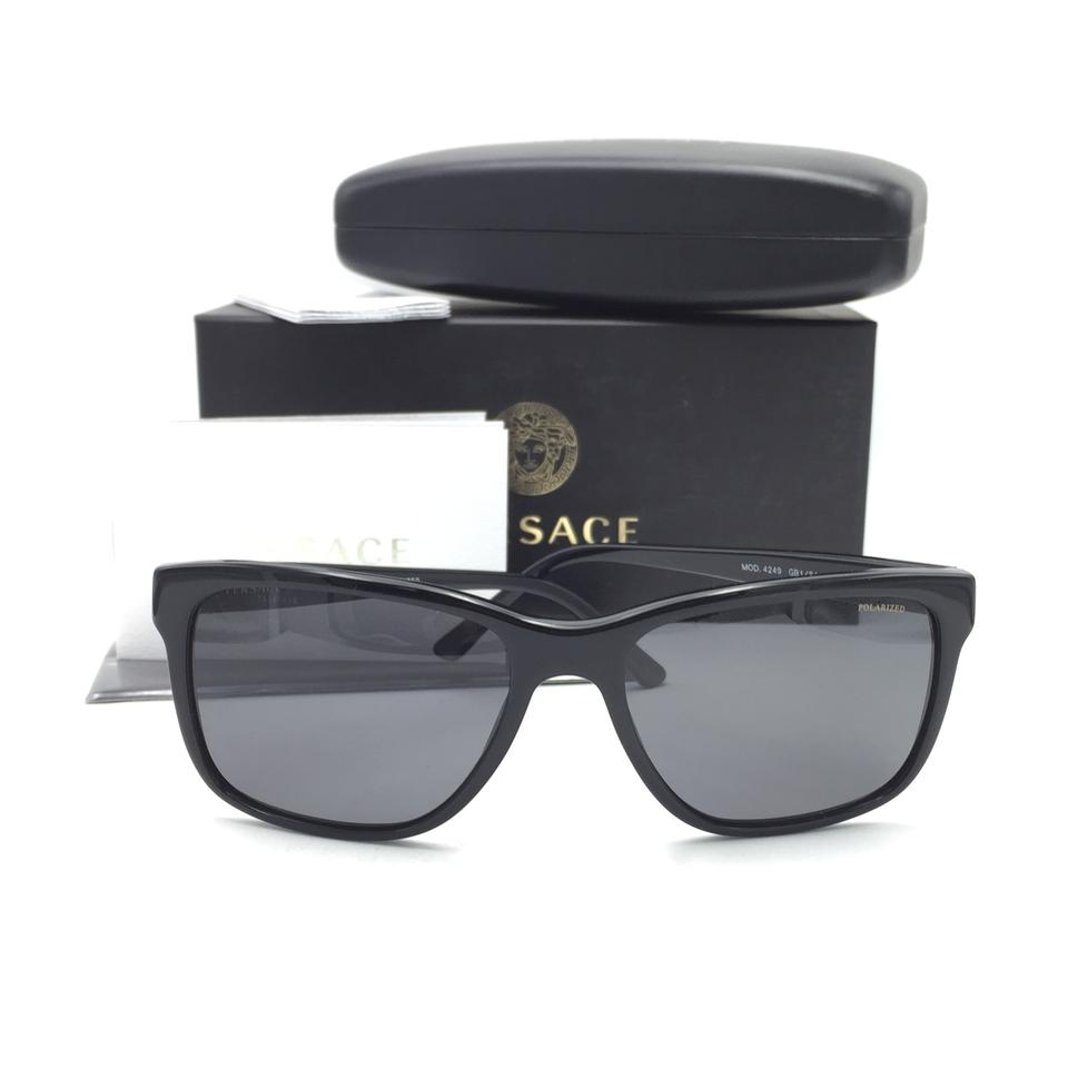 66c153868c987 Versace Black Gold Square Gray Polarized 4249 Gb1 81 Sunglasses ...