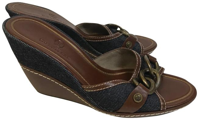 Cole Haan Brown & Denim Blue Free Shipping Wedges Size US 7.5 Regular (M, B) Cole Haan Brown & Denim Blue Free Shipping Wedges Size US 7.5 Regular (M, B) Image 1