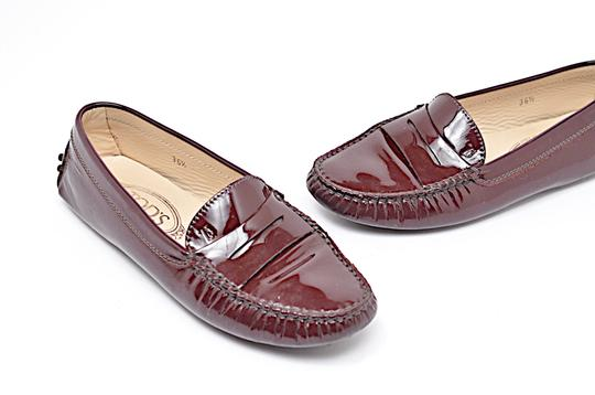 Tod's Patent Leather Penny Loafer Driving Wine Flats