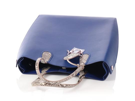 Dior Python Vertical Charm Cd.p0508.10 Reduced Price Tote in Blue