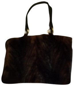 Paolo Masi Tote in Brown fur and leather made in Italy tote with braided leather straps