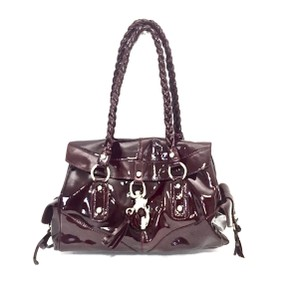 Francesco Biasia Patent Leather Silver Hardware Shoulder Bag