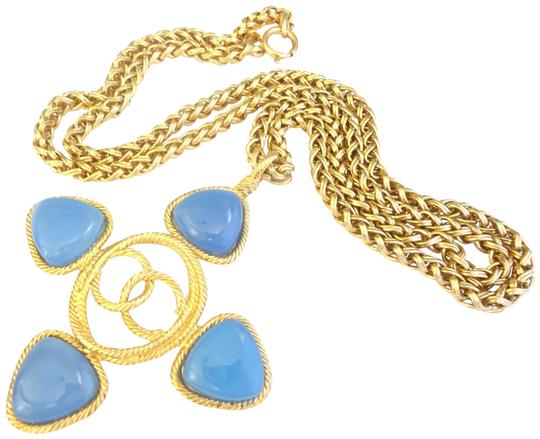Preload https://img-static.tradesy.com/item/23580103/chanel-blue-stone-w-gold-plated-long-pendant-large-size-necklace-0-1-540-540.jpg