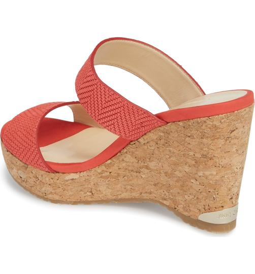 Jimmy Choo Parker Wedge Sandals 9 Flamingo Red Mules