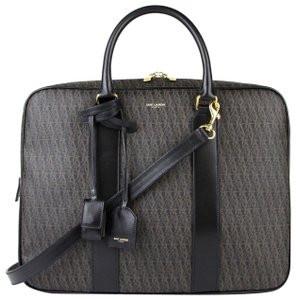 Saint Laurent Men Monogram Briefcase Black/Brown Travel Bag
