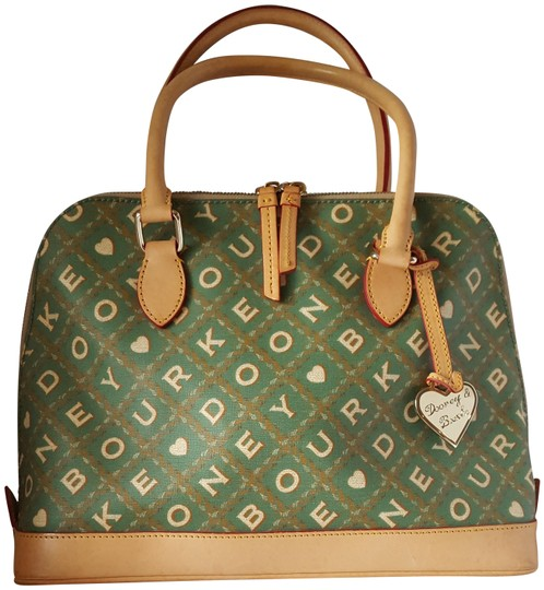Preload https://img-static.tradesy.com/item/23580396/dooney-and-bourke-logo-dome-green-and-tan-coated-canvas-w-leather-trim-satchel-0-1-540-540.jpg