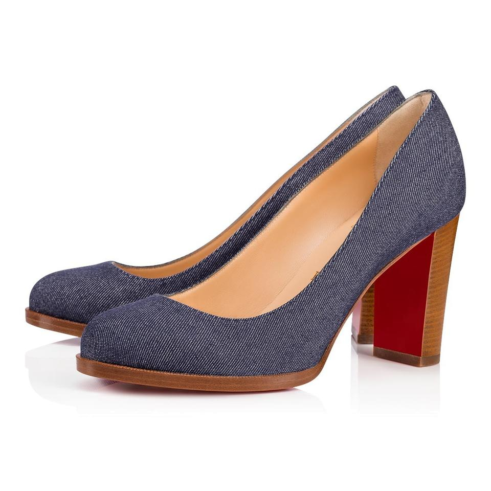 b27b7a75fe29 Christian Louboutin Denim Blue London Buche 85 Block Pumps Size EU ...
