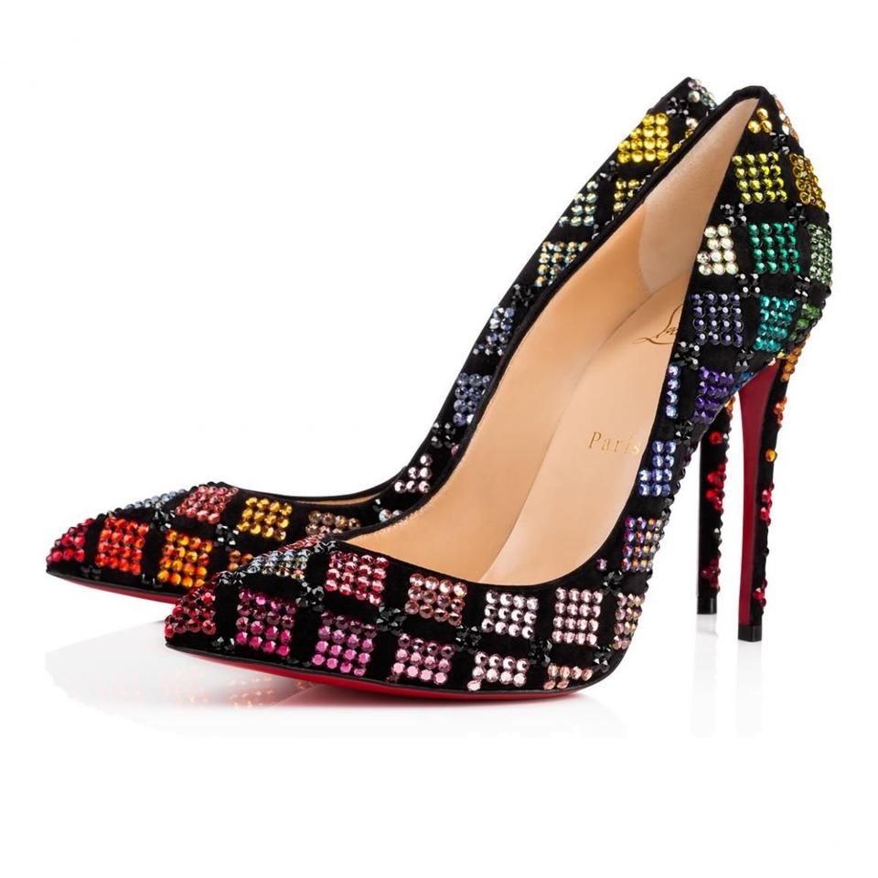 983afb6d1ae Christian Louboutin Black Arletta 100 Suede Red Blue Strass Crystal Pigalle  Stiletto Heel Pumps Size EU 37 (Approx. US 7) Regular (M, B)