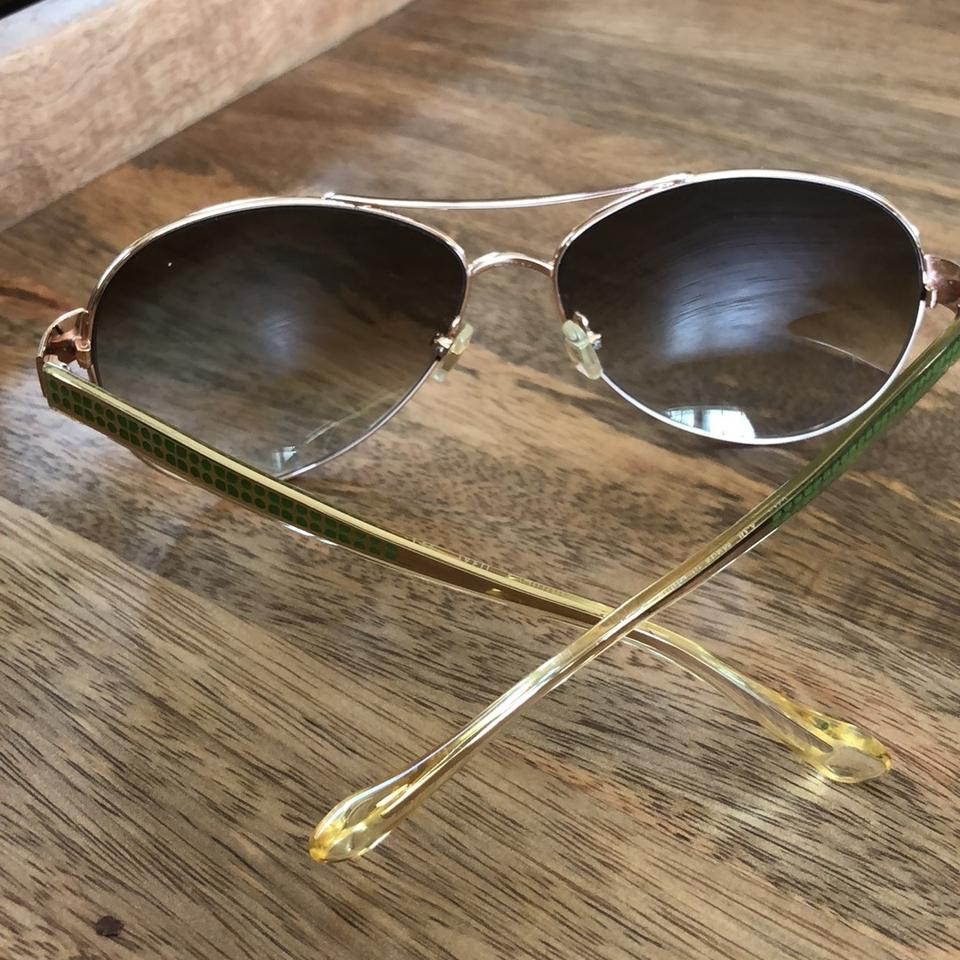 "8596ff561 Kate Spade Rose Gold with Green Detail On Sides ""ruthie"" Sunglasses ..."