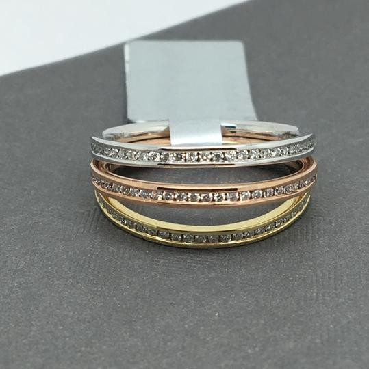 Other 14K Tri-Color Gold Natural Genuine Diamond Channel Set Stackable Rings
