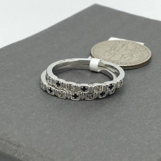 Other 14K White Gold Natural Genuine Diamond and Sapphire Stackable Rings
