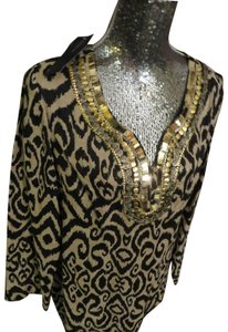 Jones New York Embellished Neckline Animal Print Shirt Leopard Cruise V Neck Shirt Tunic