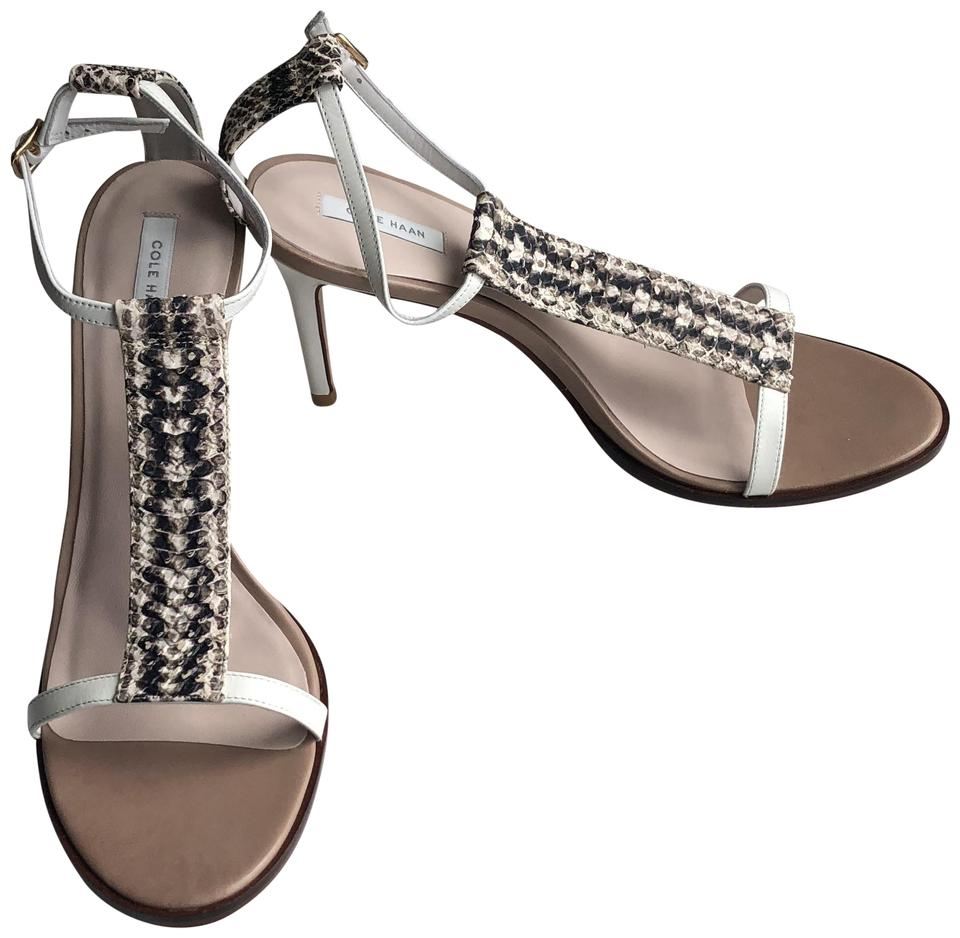 Cole Haan New White Snake Skin Cee T-strap Dress Dress Dress Suede Display Sandals 950e95