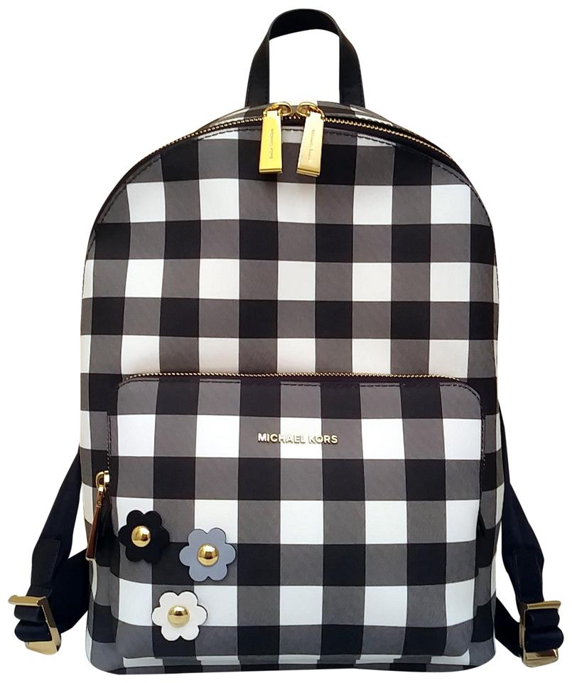 ec971233c6aa24 Michael Kors Wythe Gingham Large Navy White Pvc Backpack - Tradesy