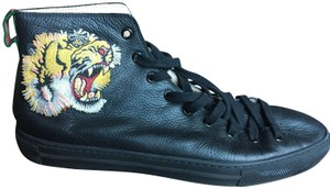 8bbc6505e3f Gucci Black Leather High Top with Tiger Sneakers Size US 9 Regular ...