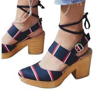 Free People Navy Red & White Nautical Stripe Mules