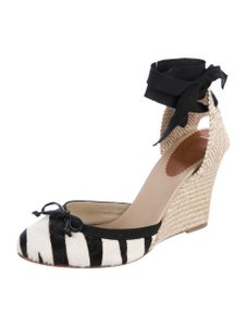 Christian Louboutin Red Soles Fashionista Espadrille Black and white ponyhair Wedges