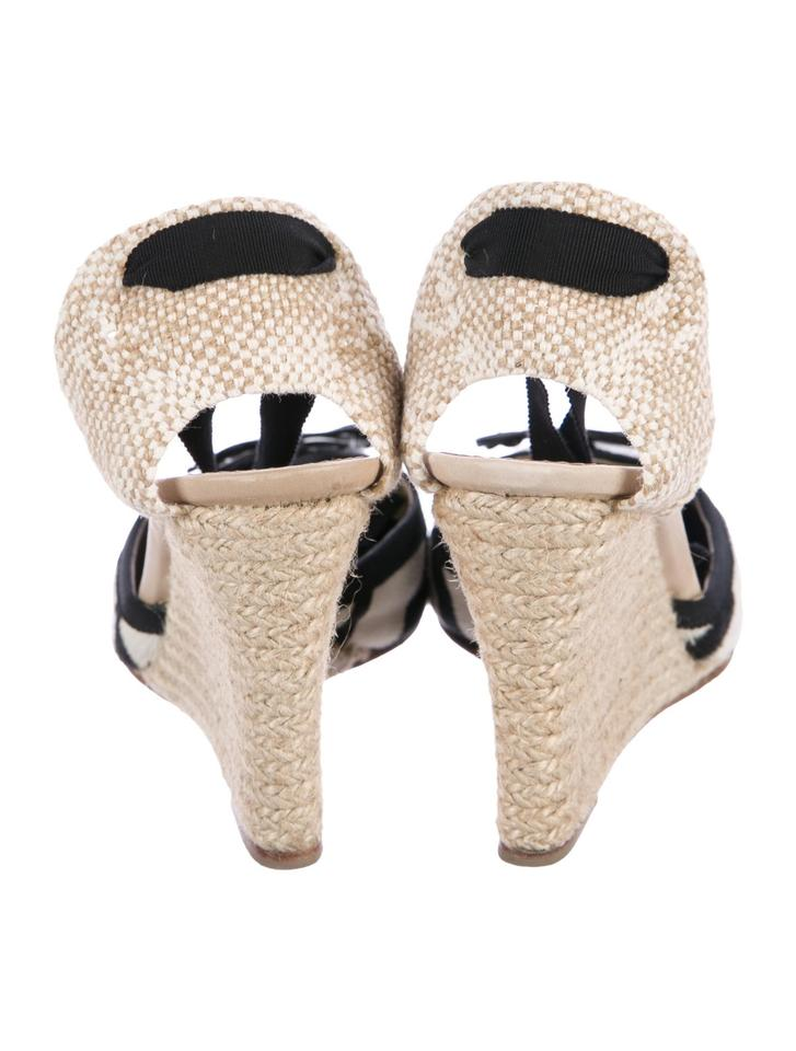 deacebb9a521 Christian Louboutin Red Soles Fashionista Espadrille Black and white  ponyhair Wedges Image 6. 1234567
