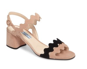 Prada Leather Double Strap Wave Black / Natural Sandals