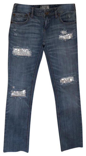 Free People Denim Distressed Sequin Skinny Jeans Size 6 (S, 28) Free People Denim Distressed Sequin Skinny Jeans Size 6 (S, 28) Image 1