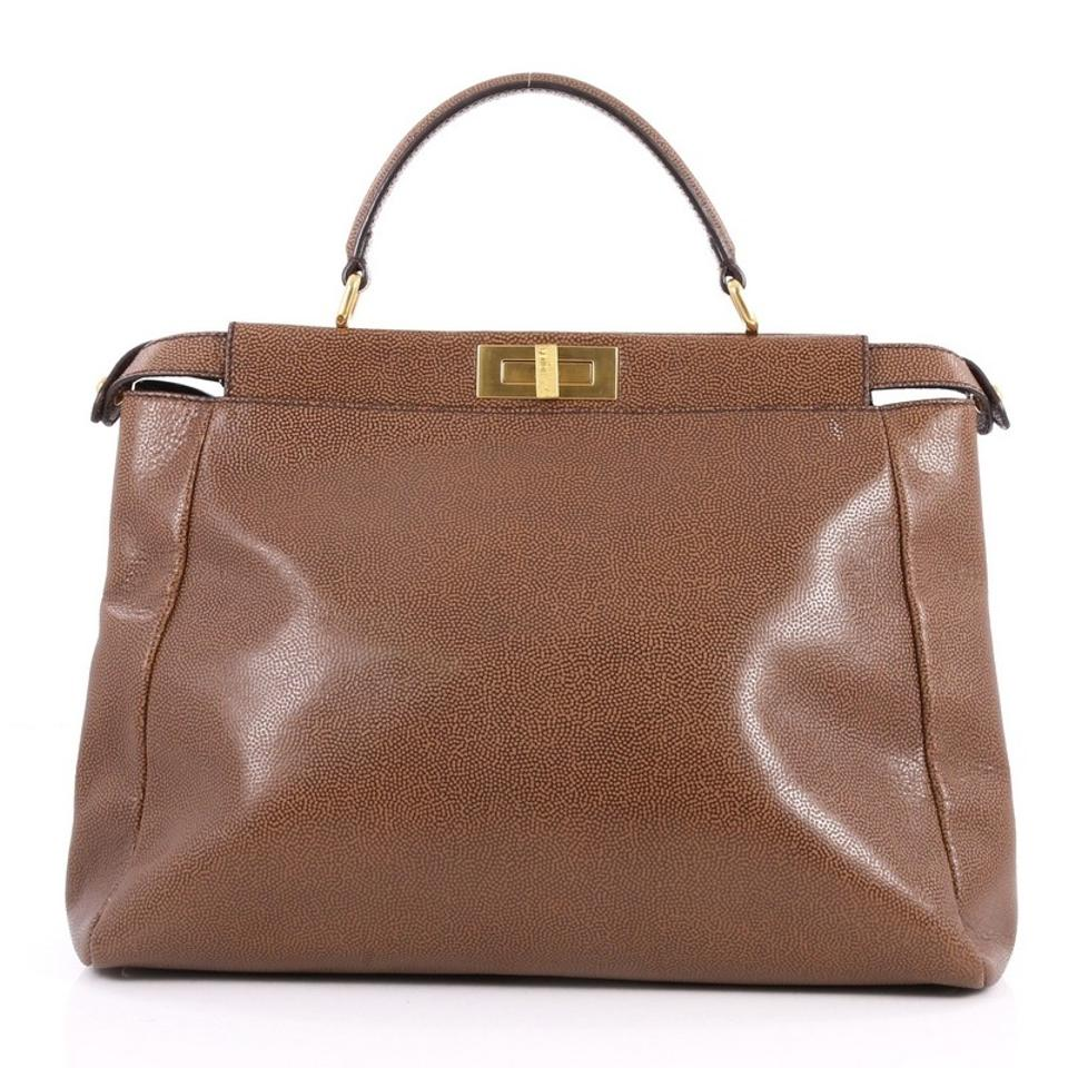 Tote Brown Peekaboo Grained Large Fendi Handbag Leather BYRIdwq