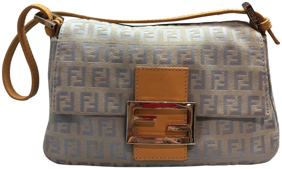 9fd1d49e1f Fendi Mini Mamma Baby Blue Zucca Canvas and Leather Baguette - Tradesy