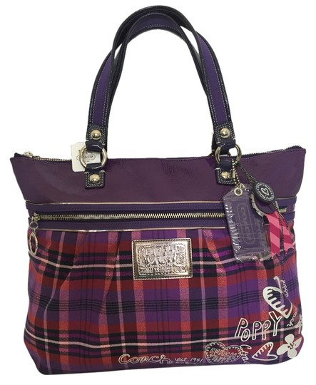 Coach Poppy Tartan Plaid Tote in Purple MULTICOLOR