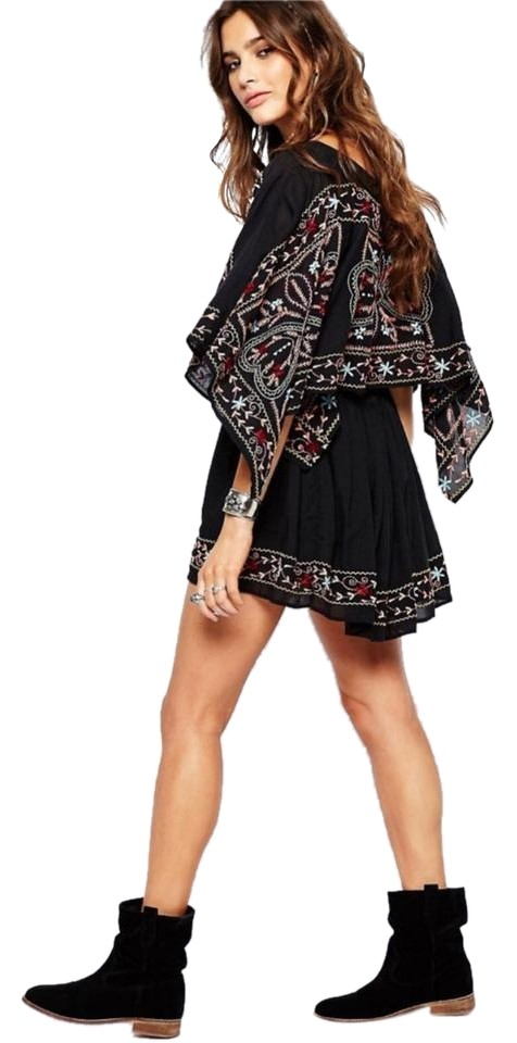 358a88d2490 Free People Black Batiste Frida Embroidered Short Casual Dress Size ...