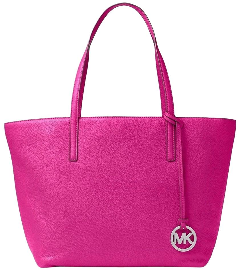 d57a04c1f2bc Michael Kors Shoulder Bag Izzy Large Fuchsia Pink Leather Tote - Tradesy