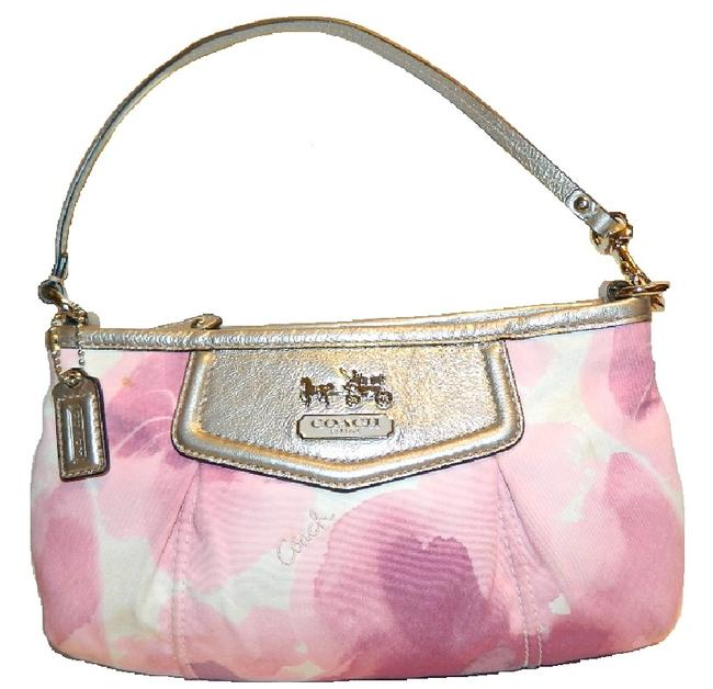 Item - Clutch Madison Large Floral Print Wristlet~hard To Find~ Purple/Pink/White/Metallic Silver/Sv Baguette