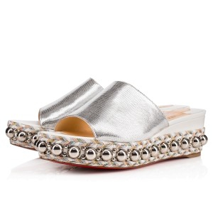 Christian Louboutin Studded Janibasse Wedge Mule Silver Platforms