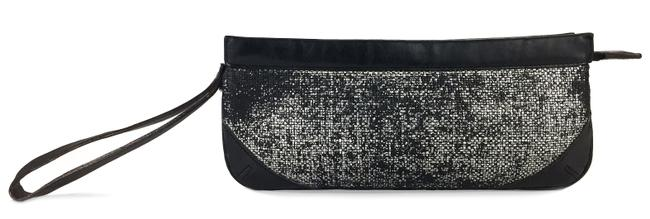 Item - Threaded Small Black Silver Leather Wristlet