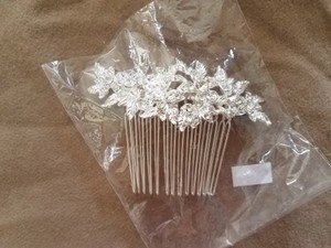 Silver with Rhinestones Floral Hair Accessory