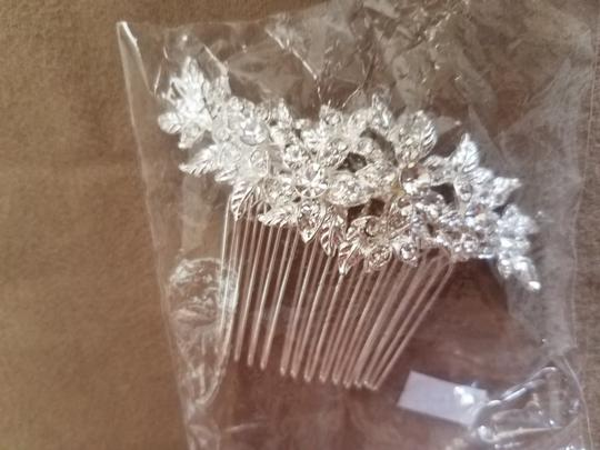 Silver with Rhinestones Floral Hair Accessory Image 2