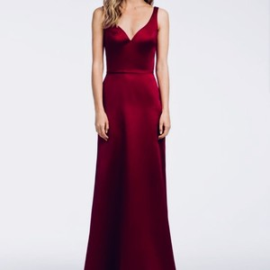 Hayley Paige Burgundy Satin 5666 Formal Bridesmaid/Mob Dress Size 12 (L)