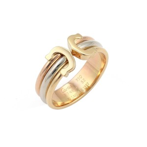 Cartier Double C 18k Tricolor Gold Cuff Band Ring Size 52 w/Cert