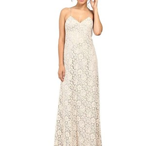 Donna Morgan Fawn (Light Nude) Lace Gia Gown Casual Bridesmaid/Mob Dress Size 8 (M)