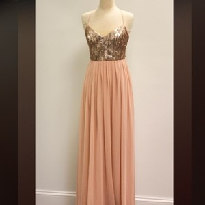 Donna Morgan Rose Quartz (Blush Bottom W/ Rose Gold Sequins) Coco Feminine Bridesmaid/Mob Dress Size 6 (S)