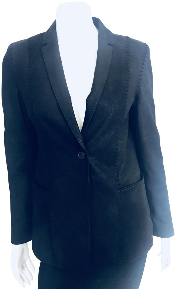 71755c5da9 Theory Black 3518 Button Stitched Blazer Jacket Size 4 (S) - Tradesy