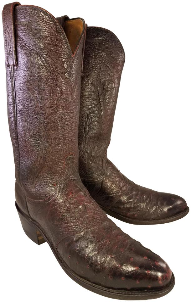 Lucchese Cherry Black Man 1883 Boots/Booties Genuine Ostrich Western Cowboy Boots/Booties 1883 e8bbe6