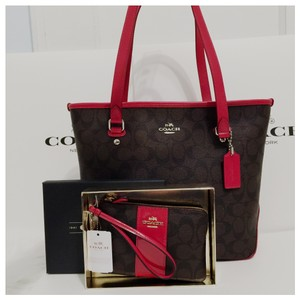 Coach Zip Top Classic Small Leather Monogram Tote in Black Brown Red