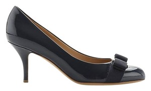 Salvatore Ferragamo Carla Sf Patent Leather OXFORD BLUE/GOLD Pumps