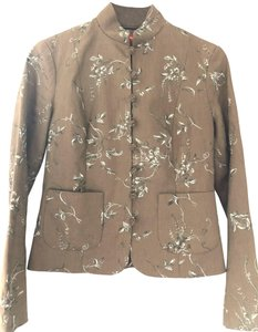 Shanghai Tang Linen Limited Edition Couture Longsleeve Embroidered Light brown Jacket